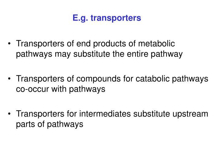 E.g. transporters