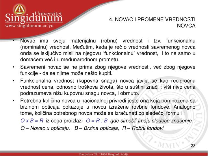 4. NOVAC I PROMENE VREDNOSTI NOVCA