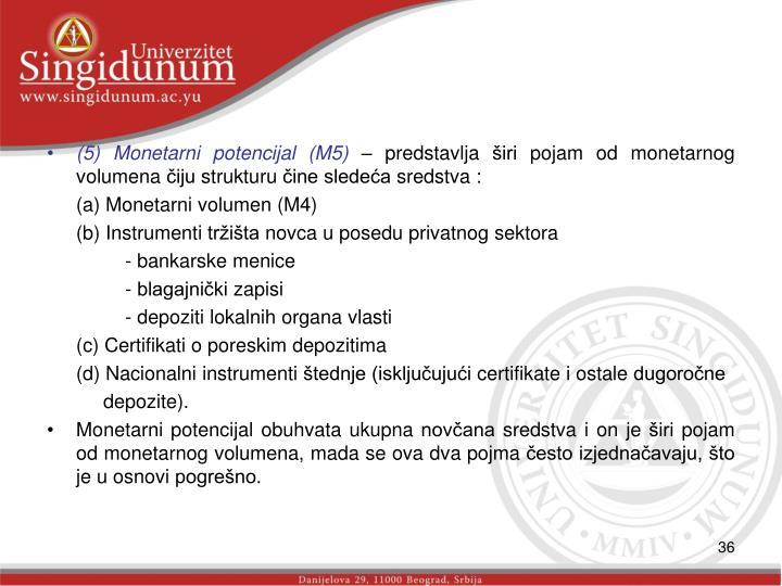 (5) Monetarni potencijal (M5)