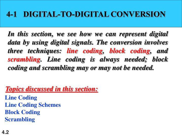 4-1   DIGITAL-TO-DIGITAL CONVERSION