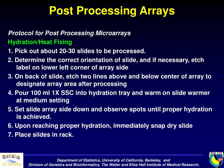 Post Processing Arrays
