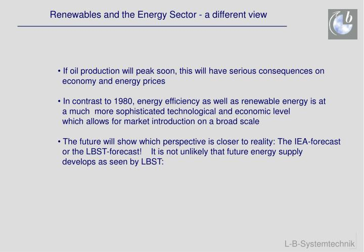 Renewables and the Energy Sector - a different view