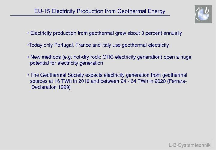 EU-15 Electricity Production from Geothermal Energy
