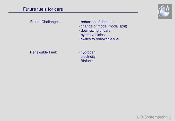 Future fuels for cars