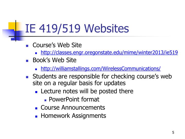 IE 419/519 Websites
