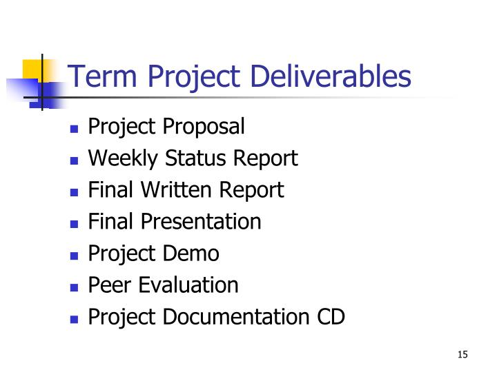 Term Project Deliverables