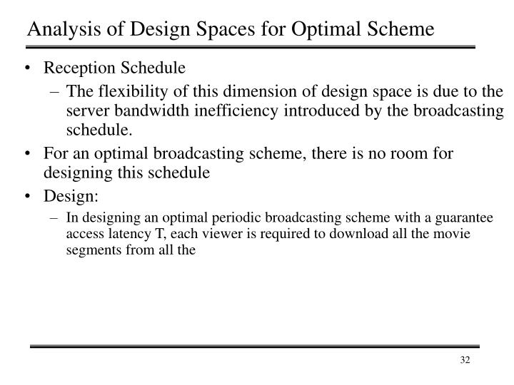 Analysis of Design Spaces for Optimal Scheme
