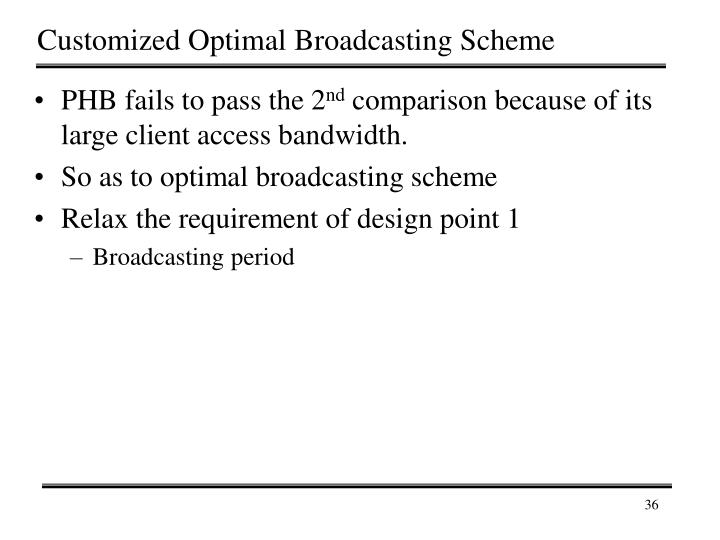 Customized Optimal Broadcasting Scheme