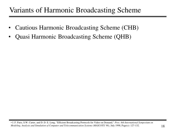 Variants of Harmonic Broadcasting Scheme