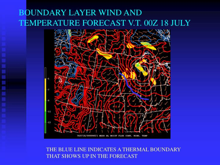 BOUNDARY LAYER WIND AND TEMPERATURE FORECAST V.T. 00Z 18 JULY
