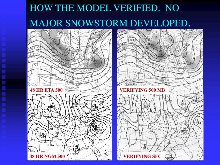 HOW THE MODEL VERIFIED.  NO MAJOR SNOWSTORM DEVELOPED