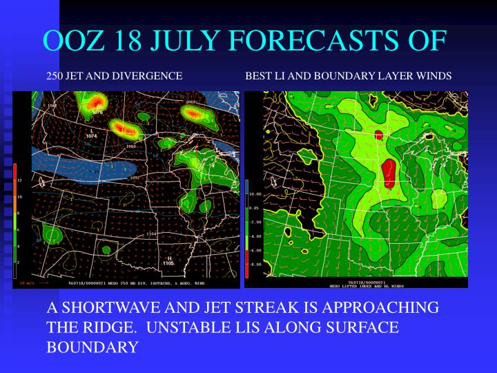 OOZ 18 JULY FORECASTS OF