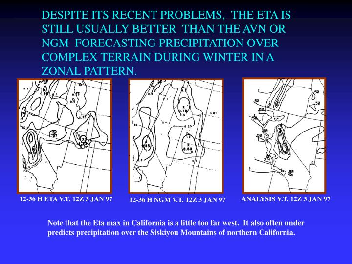 DESPITE ITS RECENT PROBLEMS,  THE ETA IS STILL USUALLY BETTER  THAN THE AVN OR NGM  FORECASTING PRECIPITATION OVER COMPLEX TERRAIN DURING WINTER IN A ZONAL PATTERN.