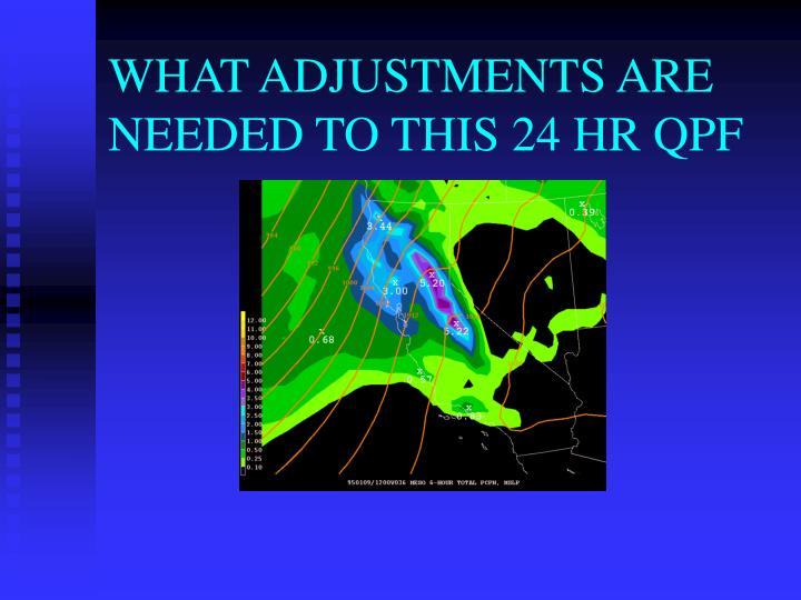 WHAT ADJUSTMENTS ARE NEEDED TO THIS 24 HR QPF