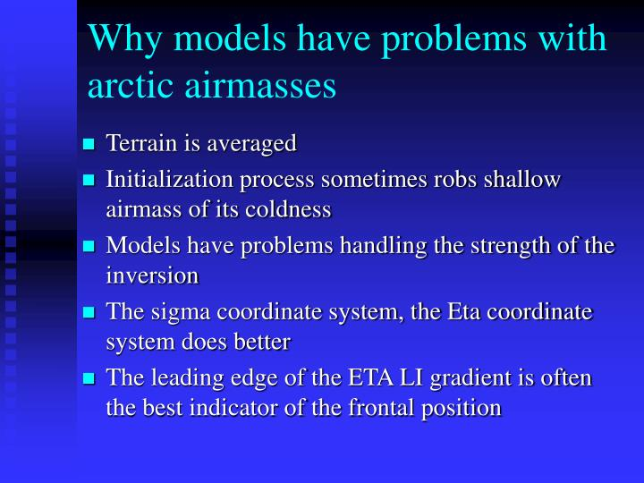 Why models have problems with arctic airmasses