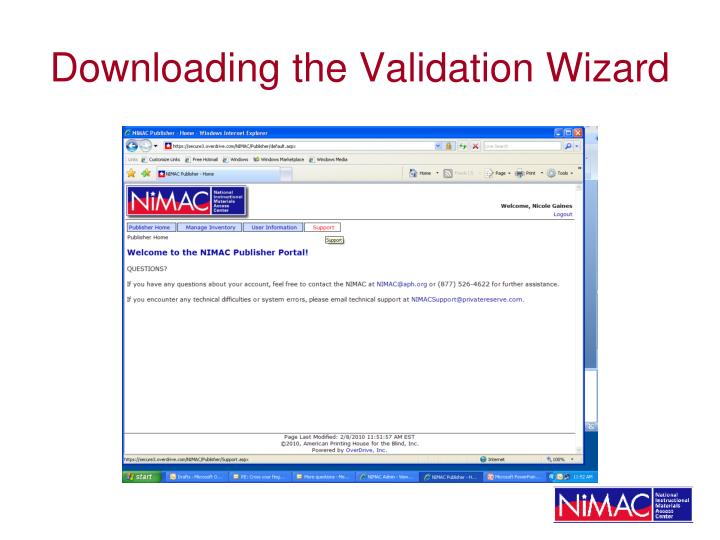 Downloading the Validation Wizard