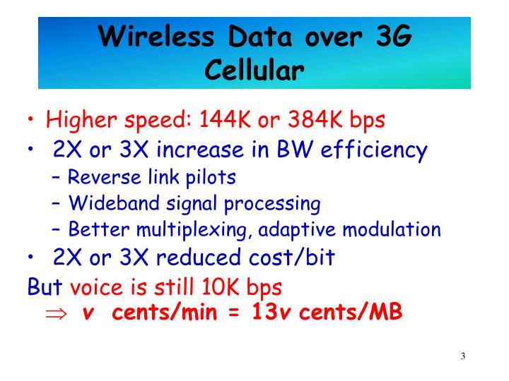 Wireless Data over 3G Cellular