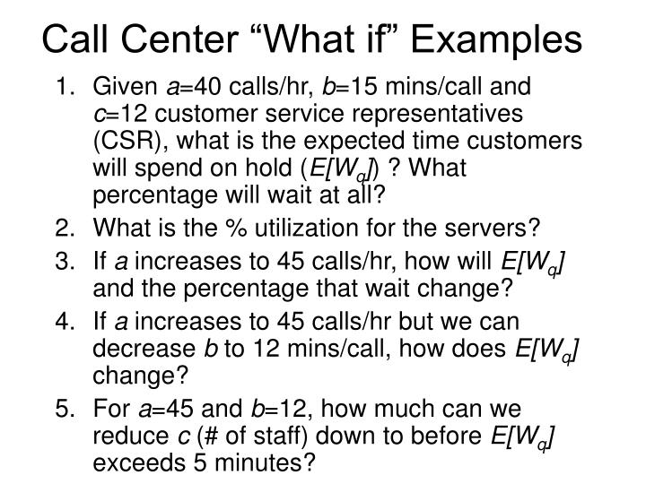"""Call Center """"What if"""" Examples"""
