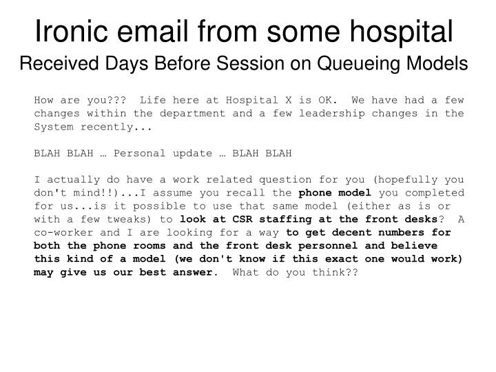 Ironic email from some hospital