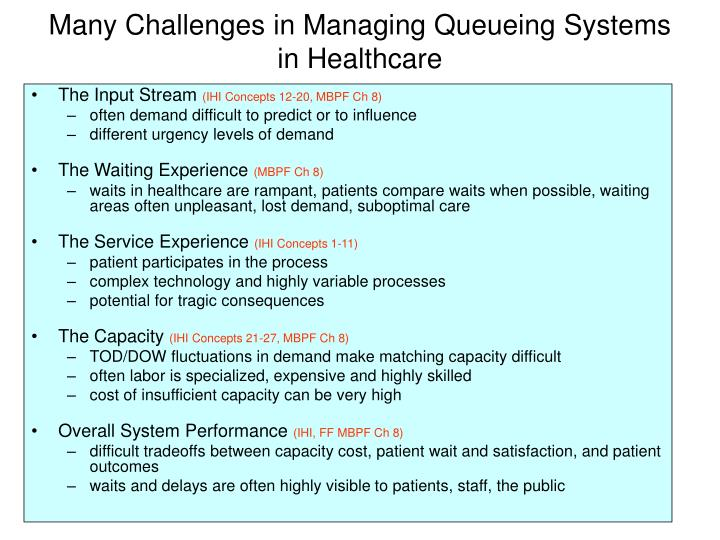 Many Challenges in Managing Queueing Systems in Healthcare
