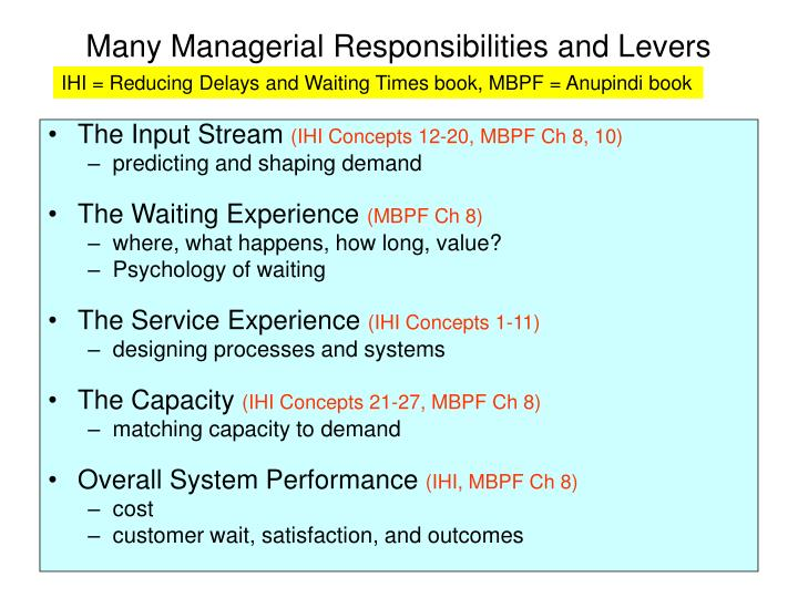 Many Managerial Responsibilities and Levers