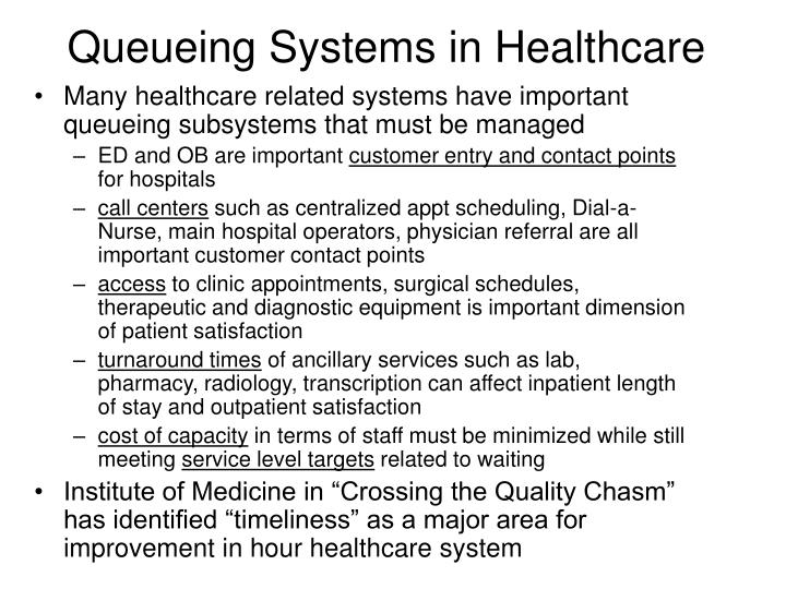 Queueing Systems in Healthcare
