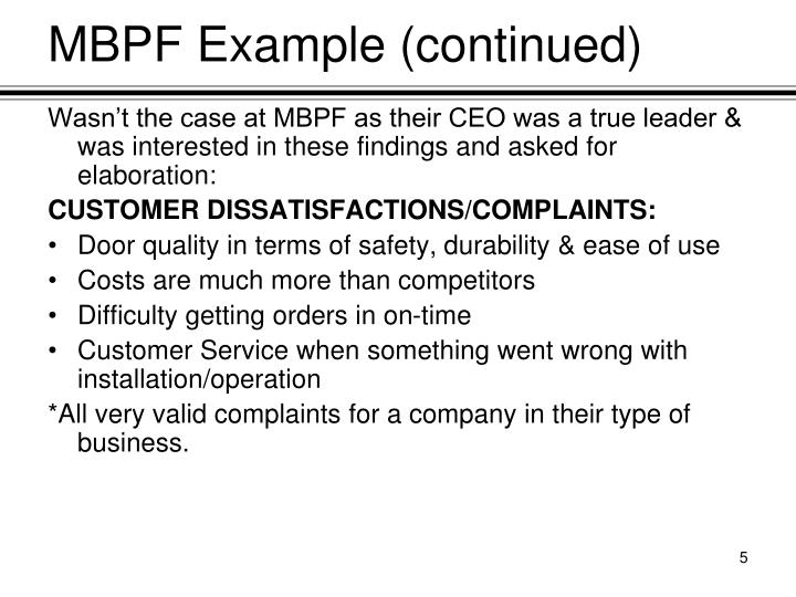 MBPF Example (continued)