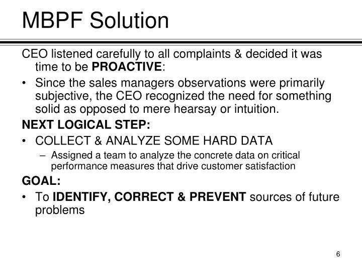 MBPF Solution