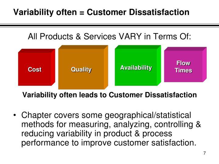 Variability often = Customer Dissatisfaction