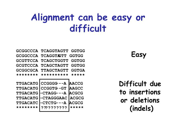 Alignment can be easy or difficult