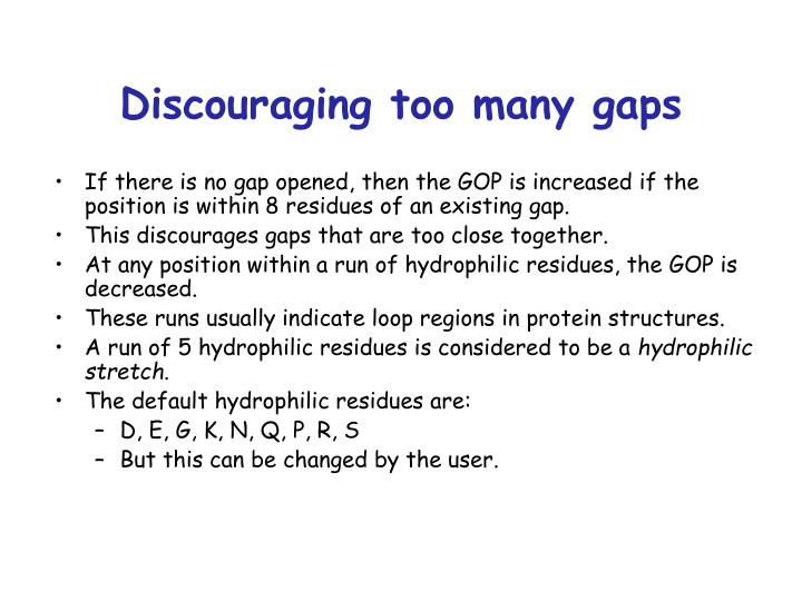 Discouraging too many gaps