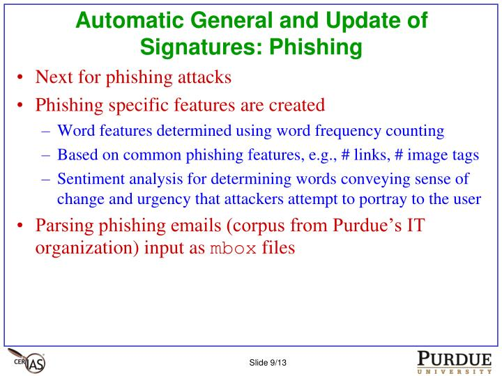 Automatic General and Update of Signatures: Phishing