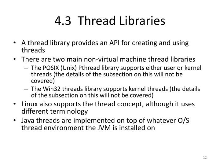4.3  Thread Libraries