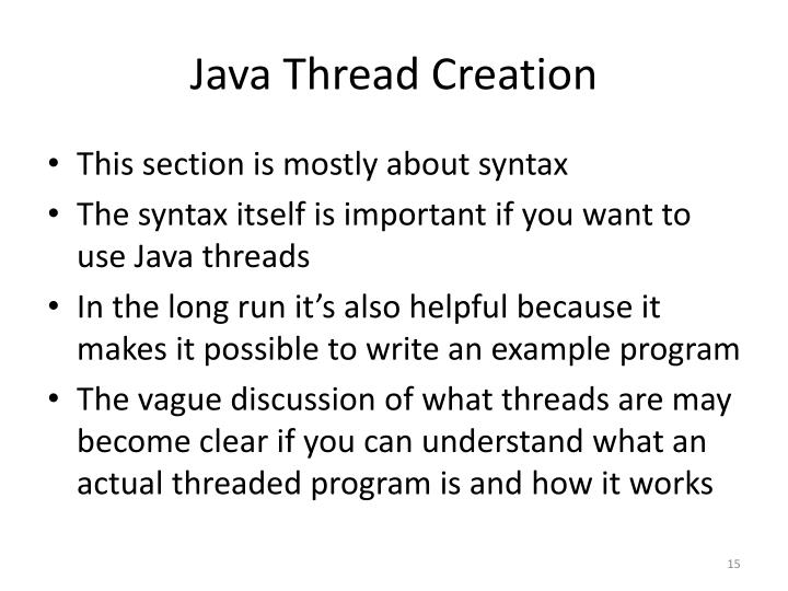 Java Thread Creation