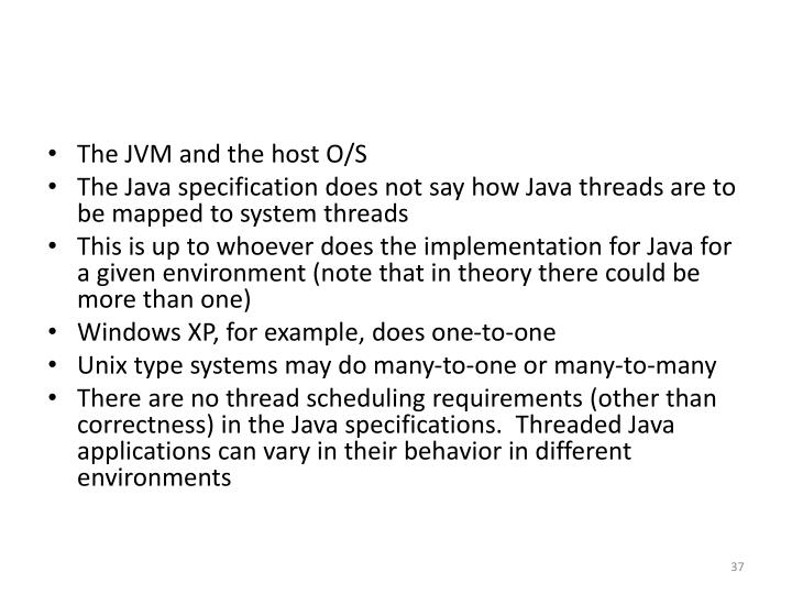 The JVM and the host O/S
