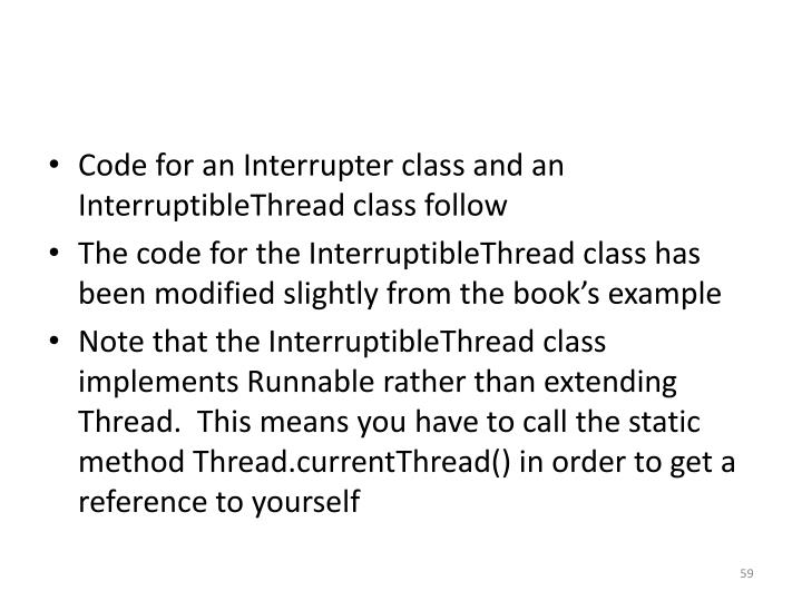 Code for an Interrupter class and an