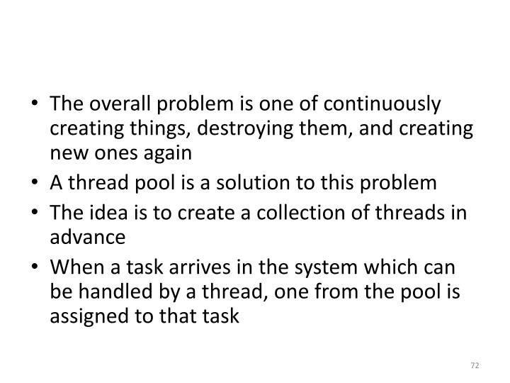 The overall problem is one of continuously creating things, destroying them, and creating new ones again