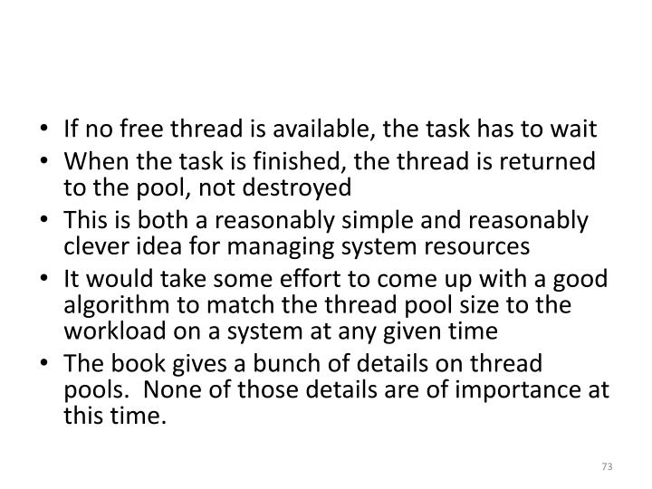 If no free thread is available, the task has to wait