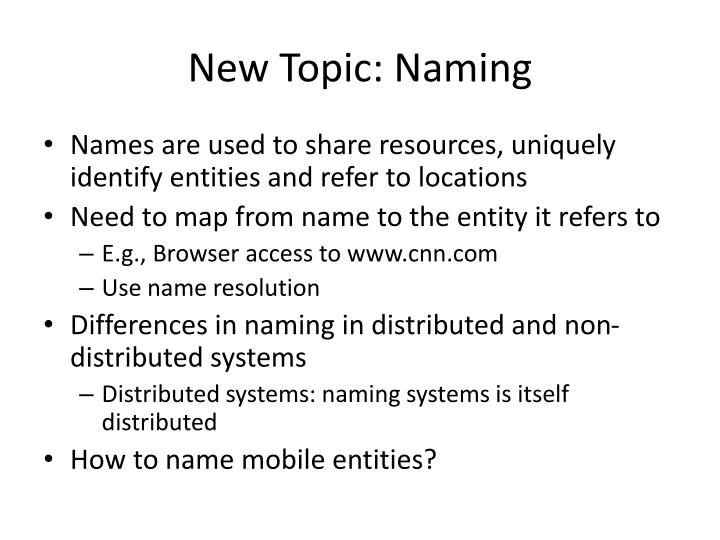 New Topic: Naming