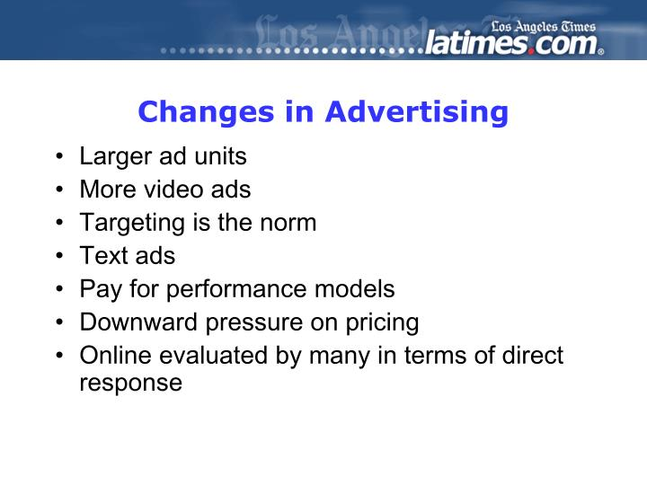 Changes in Advertising
