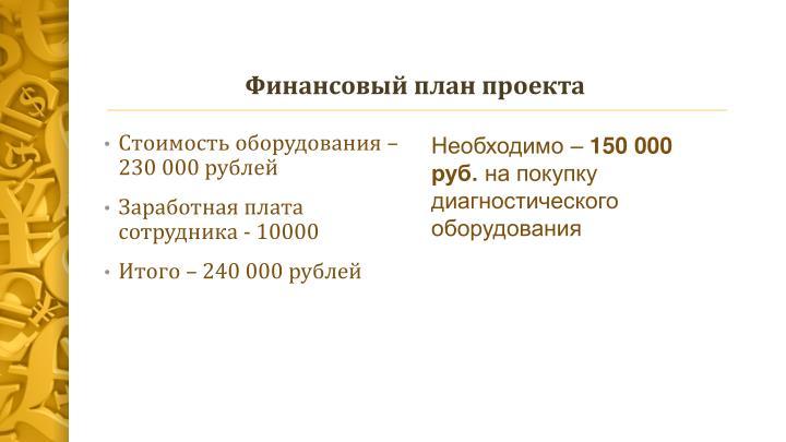Финансовый план проекта