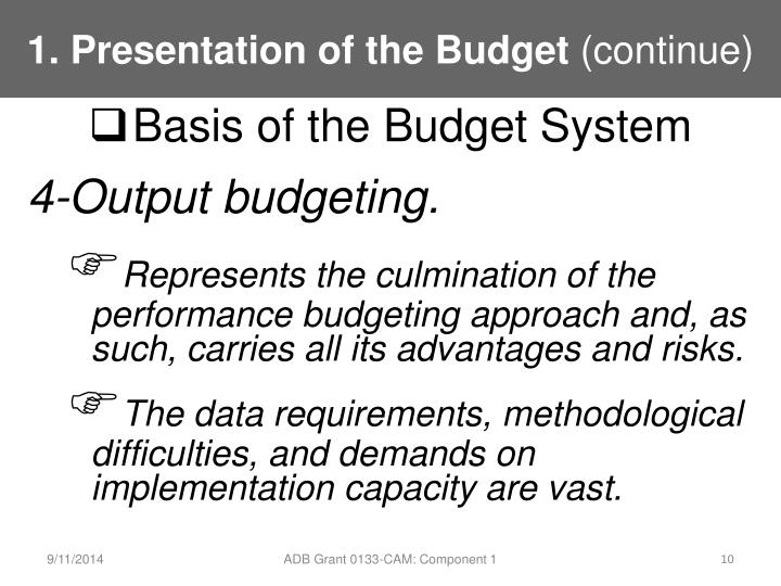 1. Presentation of the Budget