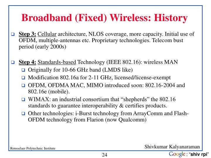 Broadband (Fixed) Wireless: History