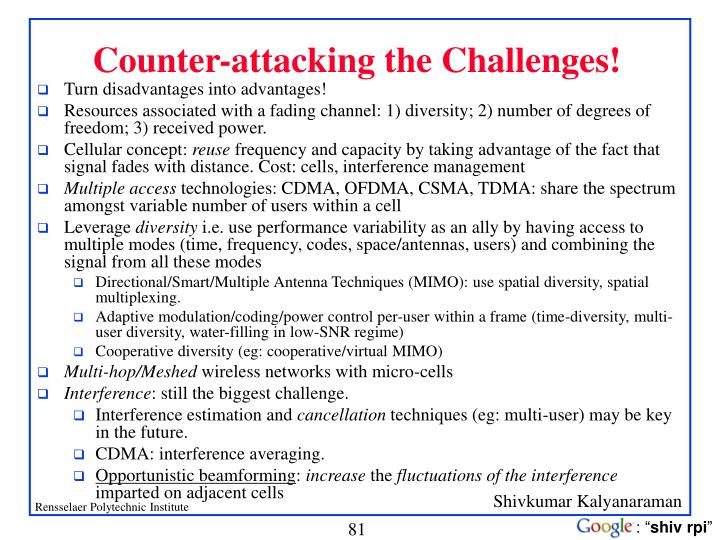 Counter-attacking the Challenges!