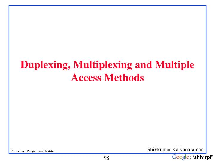 Duplexing, Multiplexing and Multiple Access Methods
