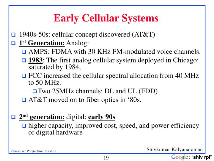Early Cellular Systems