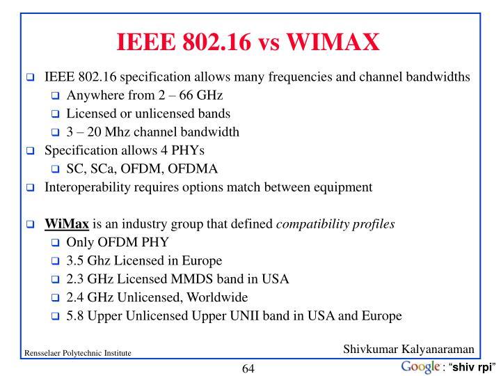 IEEE 802.16 vs WIMAX