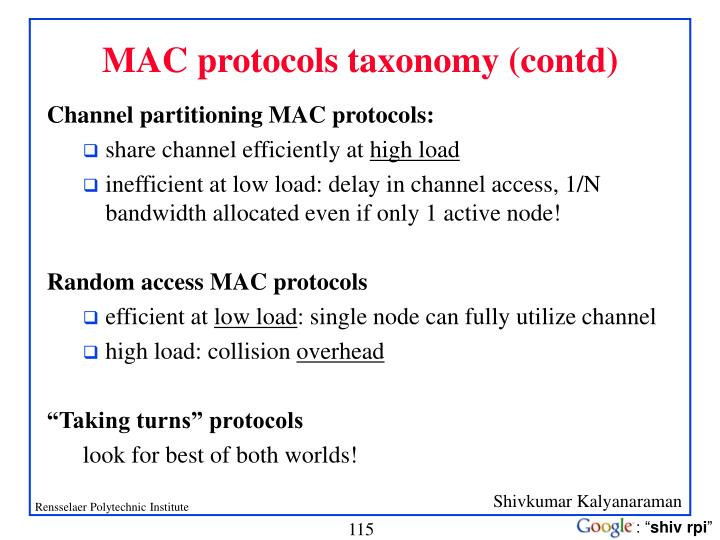 MAC protocols taxonomy (contd)