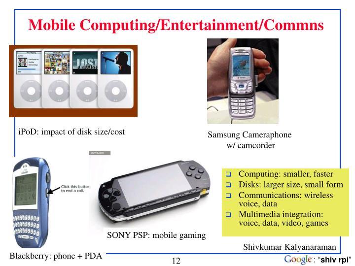 Mobile Computing/Entertainment/Commns