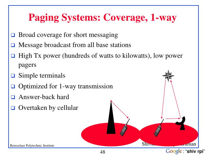 Paging Systems: Coverage, 1-way